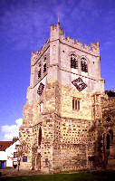 Photograph of the tower of Waltham Abbey Church, viewed from the south west.