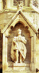 Photograph of statue of King Harold, at the south west corner of Waltham Abbey Church.